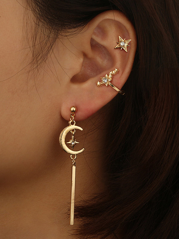 Retro Star Moon Character Pendant Stud Earrings