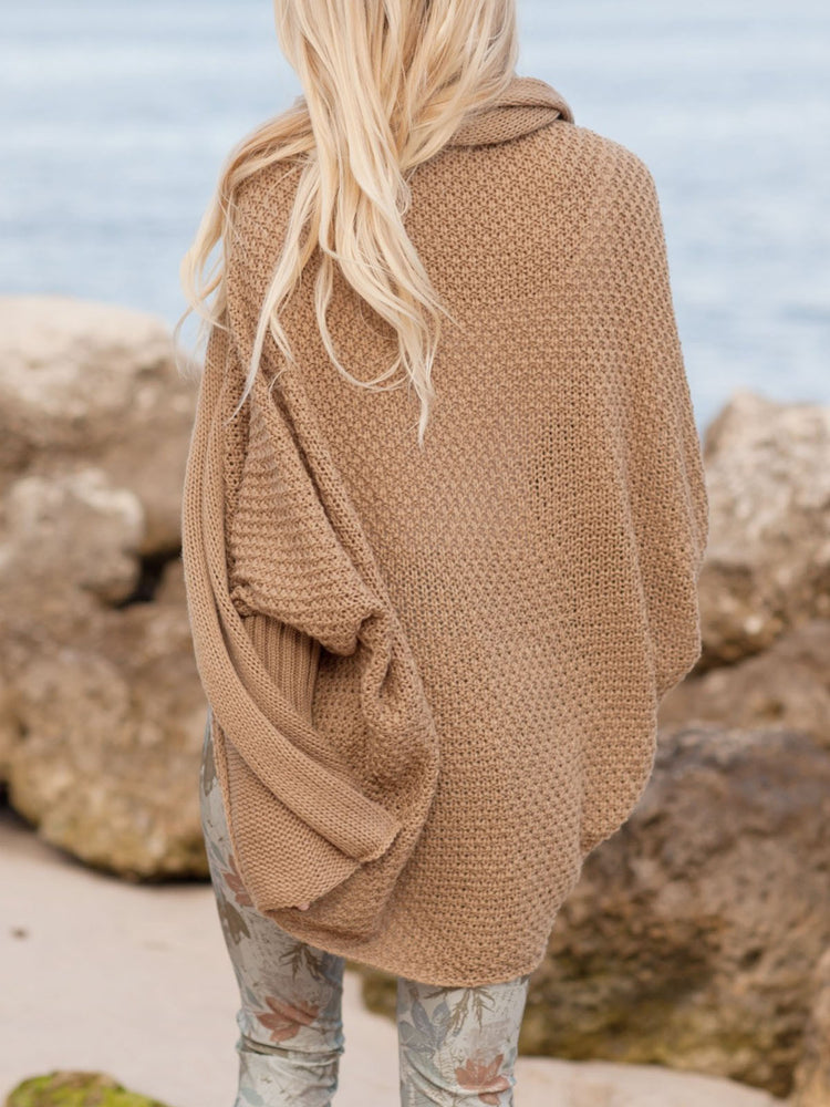 Solid Knitted Batwing Casual Cardigan