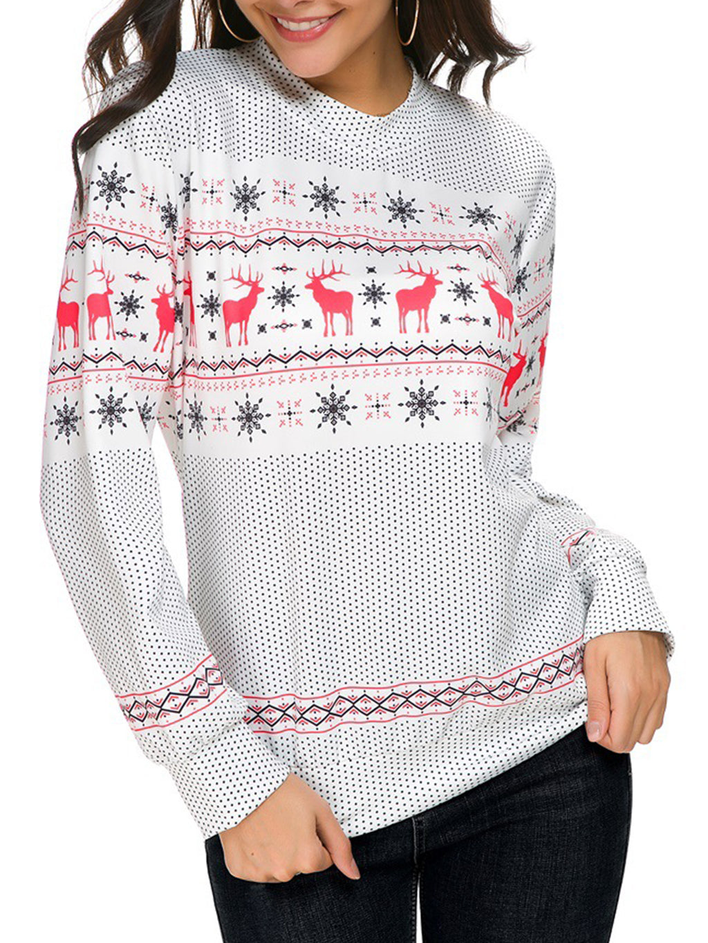 Christmas Snowflake Elk Knitted White Long Sleeve Crew Neck Sweaters