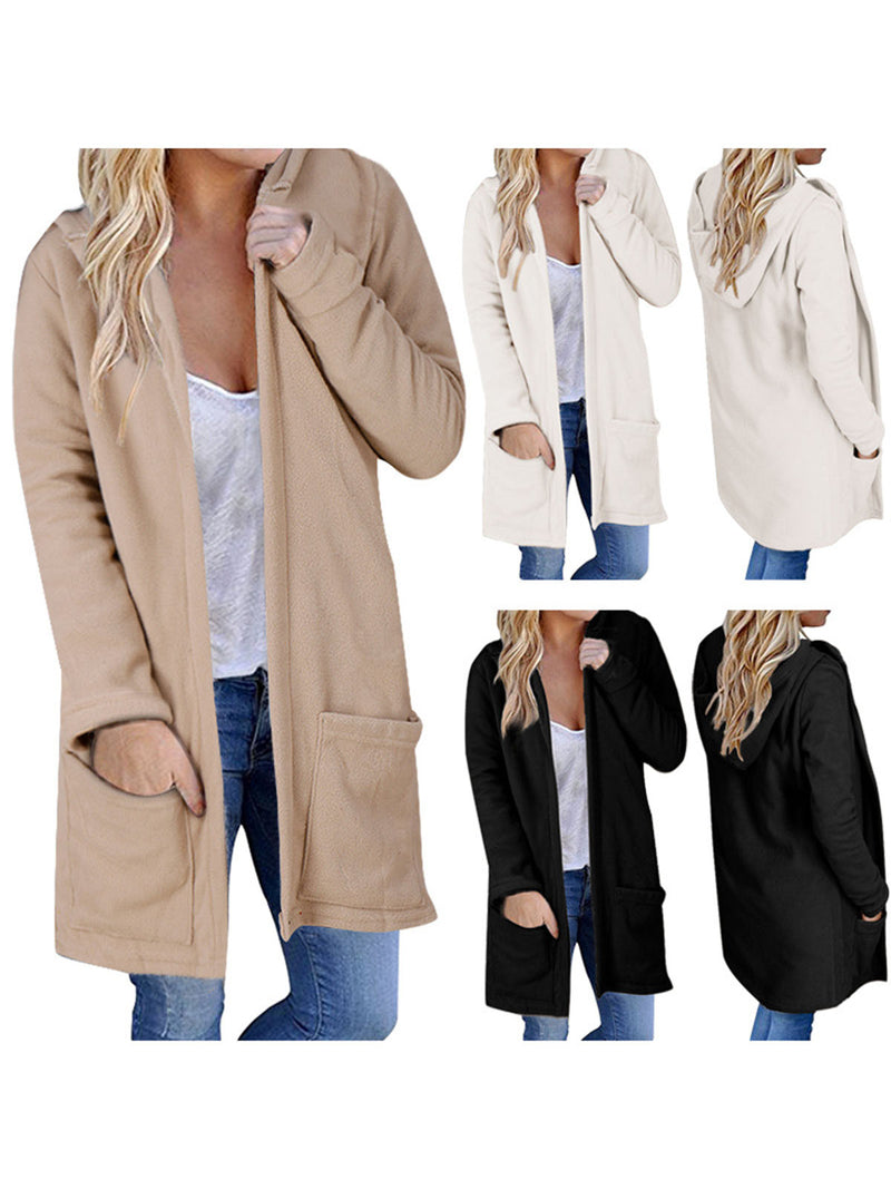 Women Casual Medium Long Hooded Coat