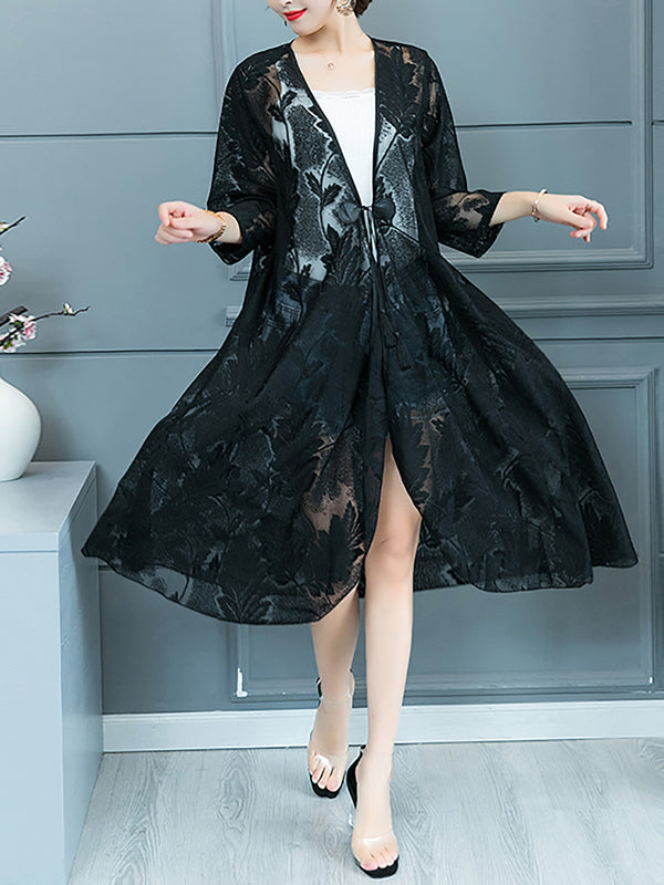 3/4 Sleeve Casual Shift Guipure Lace Coat