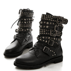 Black Rivet Pu Daily All Season Boots