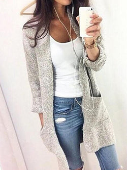 Shift Solid Casual Pockets Cardigan