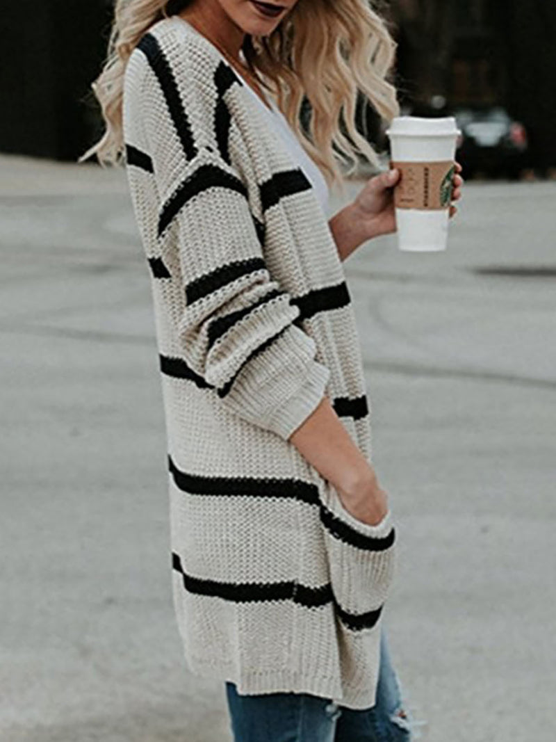 Khaki Striped Shift Casual Cardigan