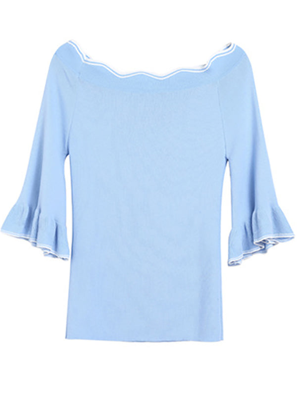 Half Sleeve Ruffled Casual Knitwear