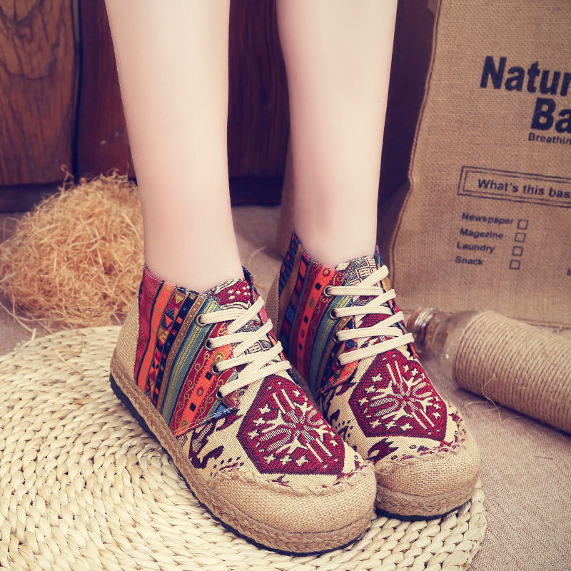 Vintage Colorful Pattern Lace Up Canvas Boots