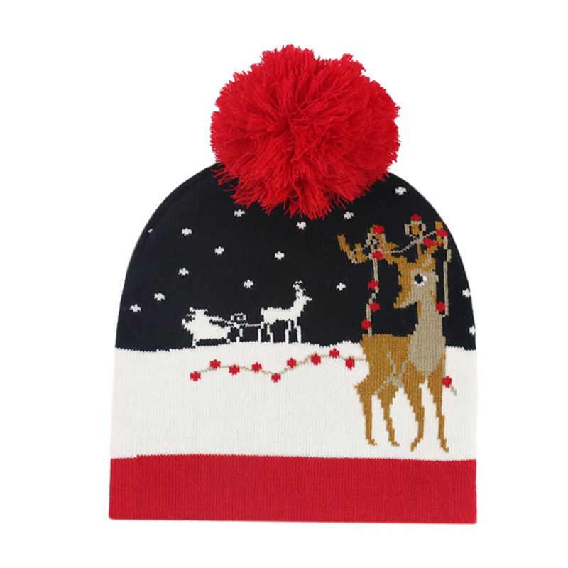 Christmas Snowflake Elk Knitted Jacquard Hat Warmer with Ball