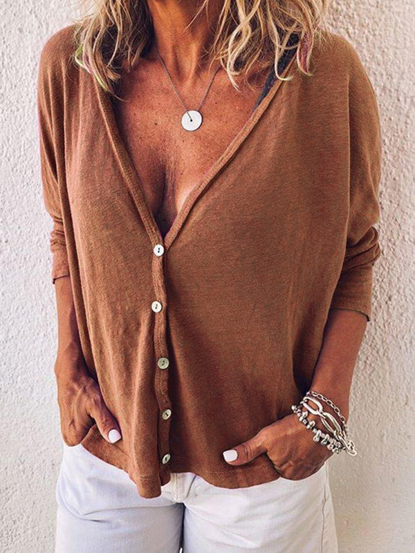 V Neck Buttoned Sexy Solid Shirts