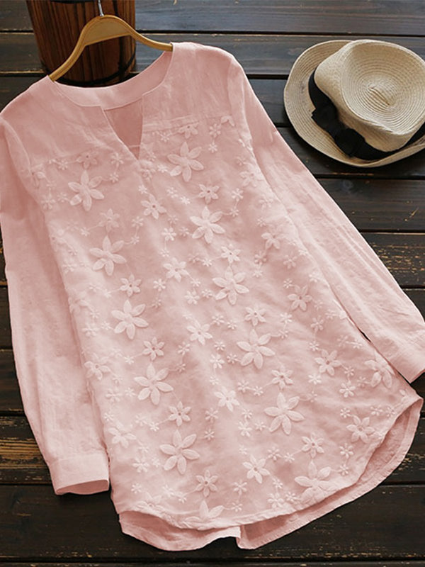 WomenFloral Lace Embroidery Long Sleeve Loose Baggy Tops Shirt Blouse