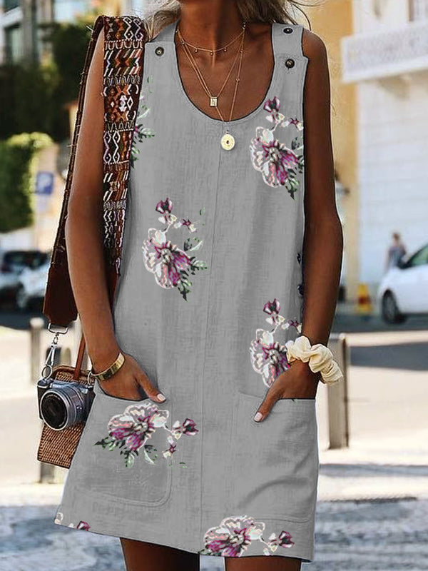 Casual Crew Neck Cotton-Blend Sleeveless Dresses