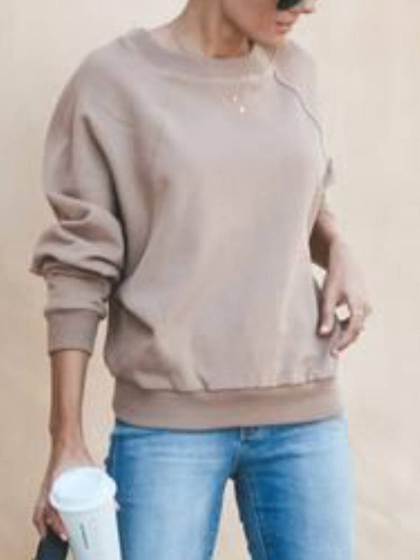 Round Neck Casual Long Sleeve Shirts & Tops