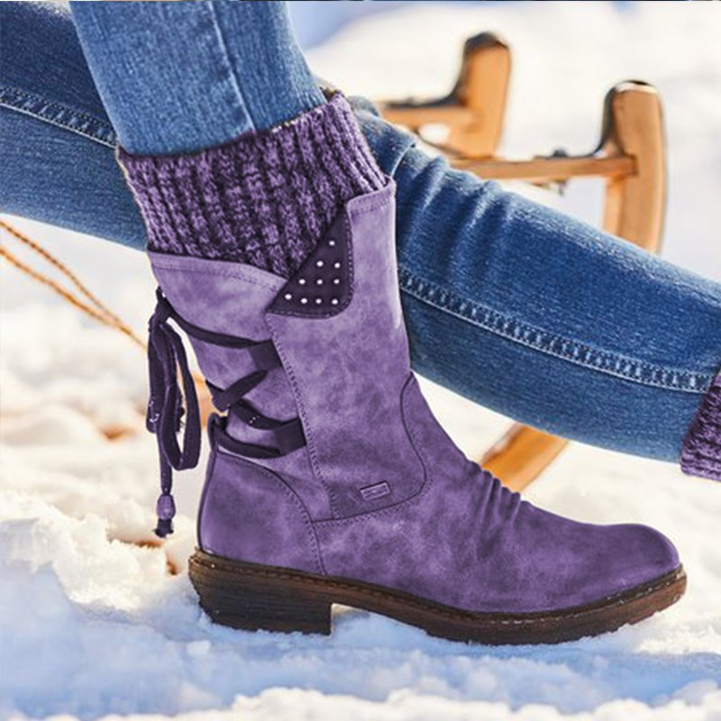 Winter Warm Low Heel Suede Boots With Lace Up