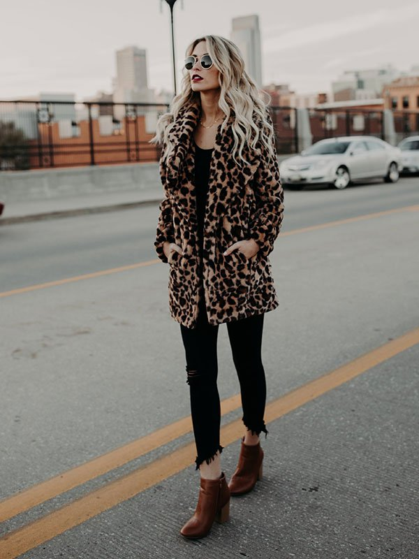 Leopard Long Sleeve Fur Coat Street Style Casual Overcoat