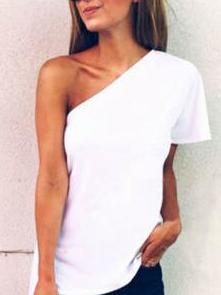 White One Shoulder Cotton-blend T-shirt