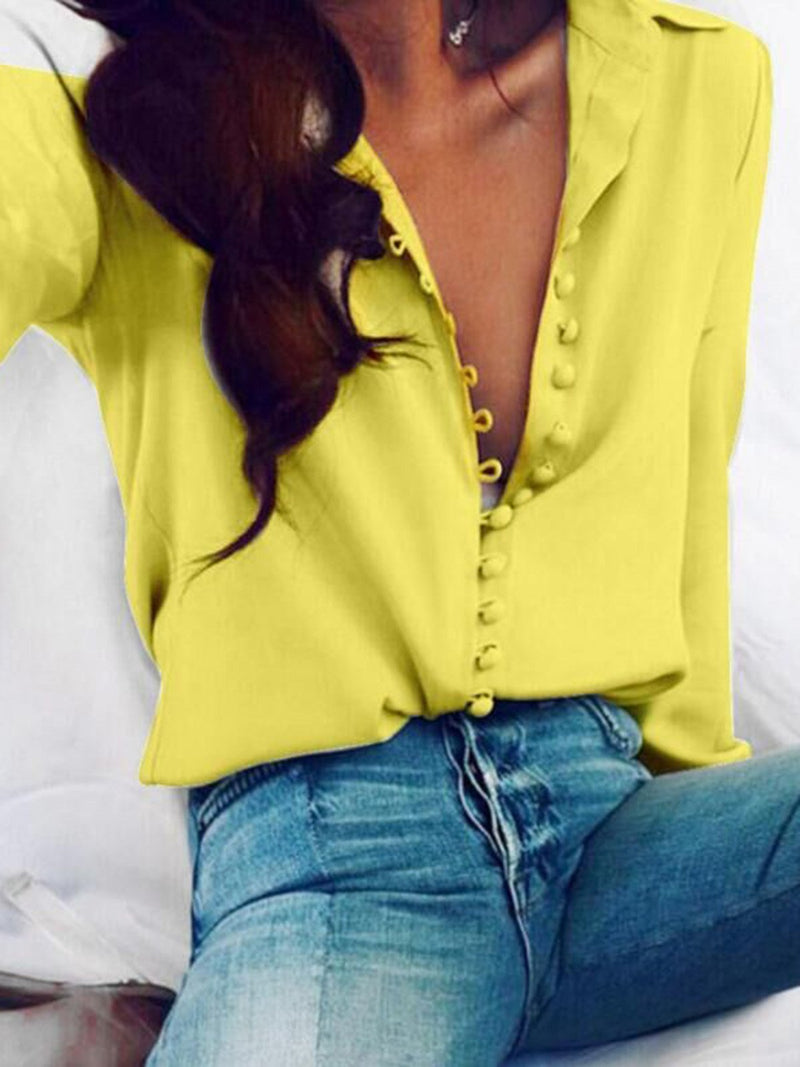 Long Sleeve Buttoned Shirt Collar Solid Blouse