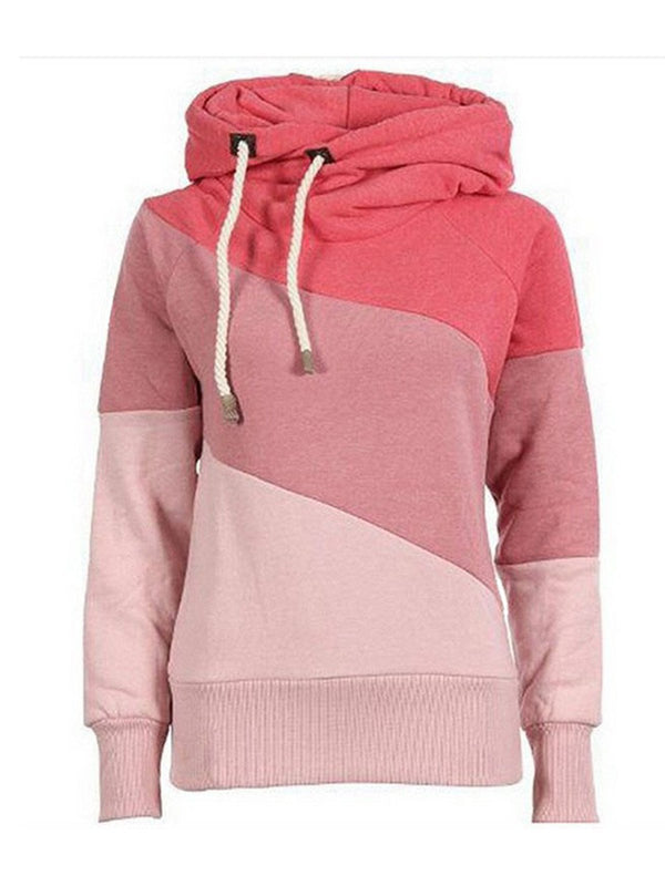 Hoodie Solid Plus Size Color-block Casual Hoody