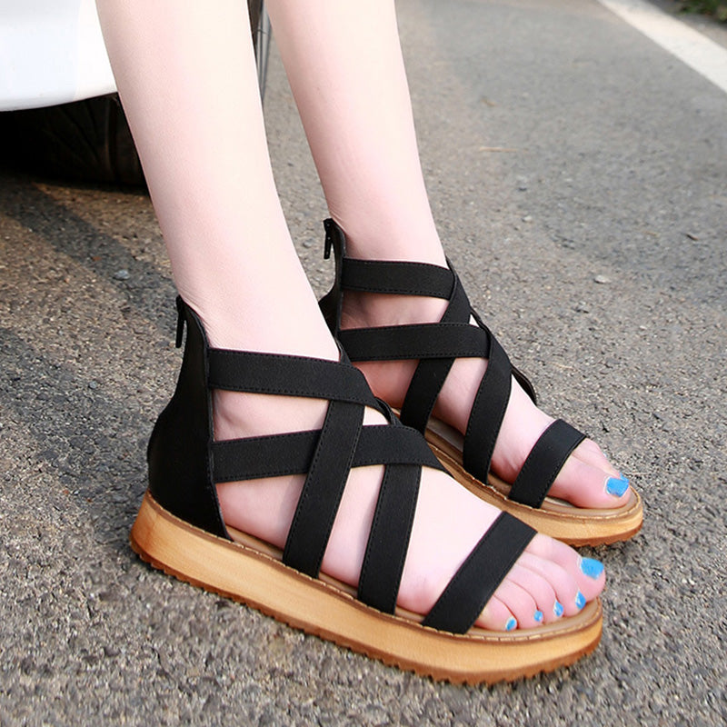 Women PU Sandals Casual Comfort Plus Size Zipper Shoes