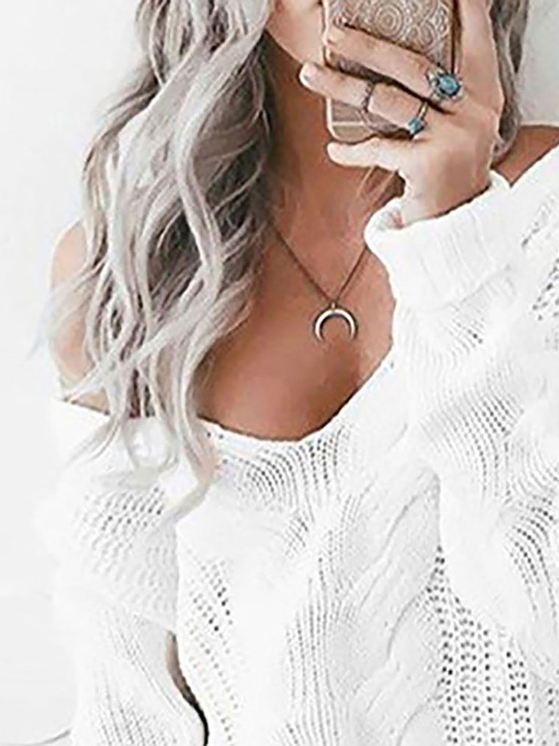 Solid Long Sleeve Sexy Cotton-blend Sweater