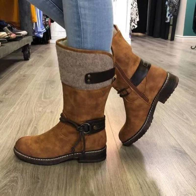 Women Artificial Leather Blocking Hook-Loop Winter Boots