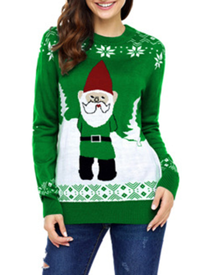 Annychloe Christmas Snowflake Santa Cute Long Sleeve Knitted Sweater Pullover