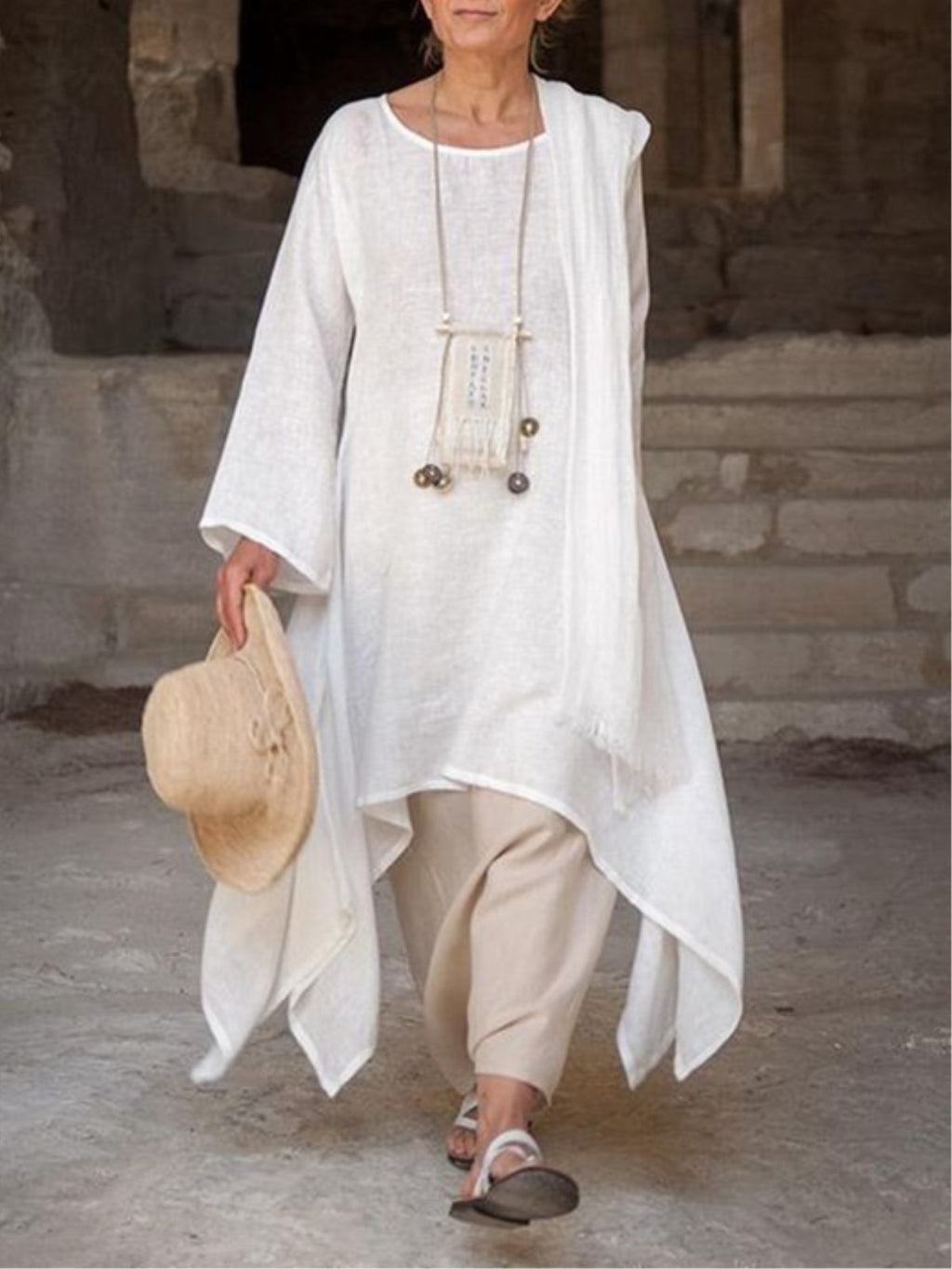 Vintage Asymmetric Long Sleeve Crew Neck Linen Plus Size Dress