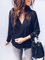 Casual Solid V Neck Lace UP Sweatershirt