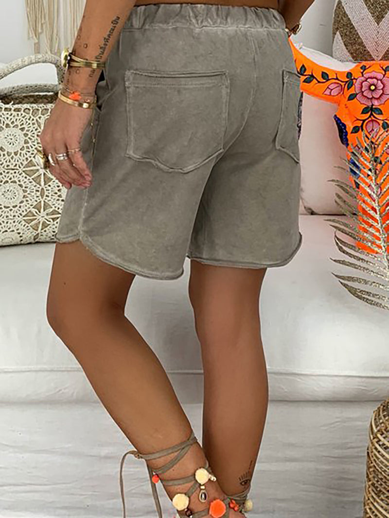 Women Casual Rose Embroidered Lace Up Elastic Waistband Pockets Shorts