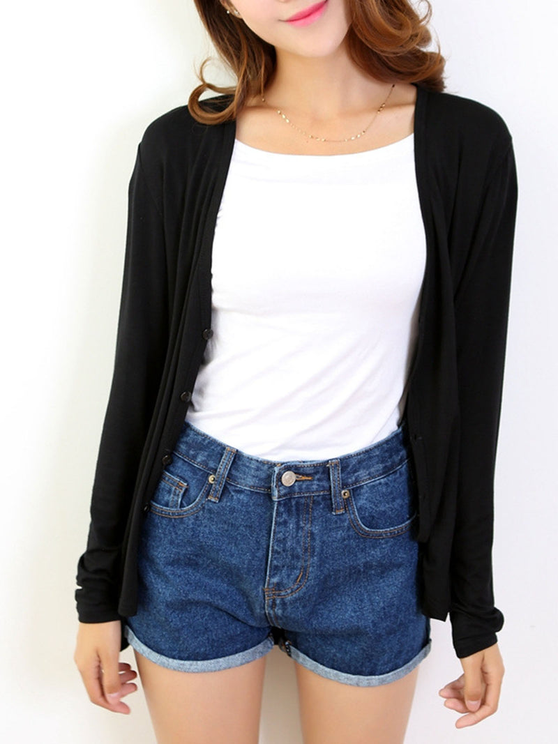 Casual Long Sleeve V Neck High Low Cardigan