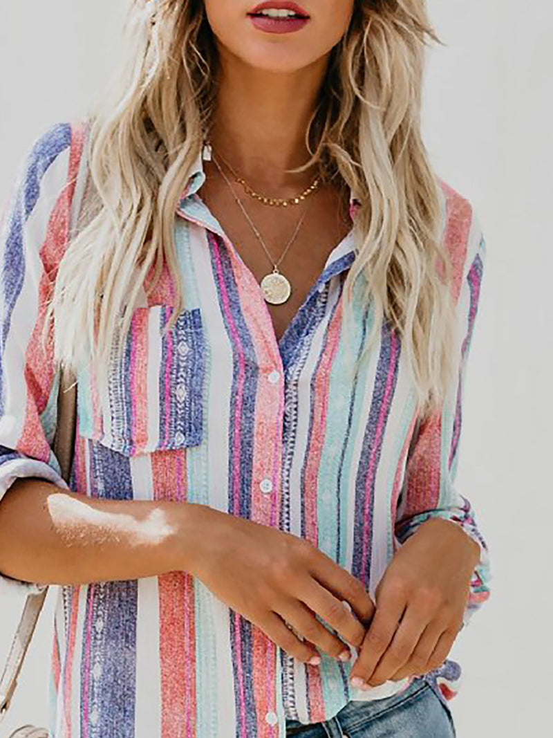 Multicolor Striped Casual Shirt Collar Buttoned Blouse