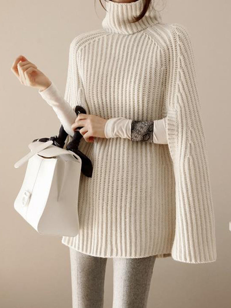 Turtleneck Slit Solid Knitted Casual Cape Sleeve Sweater