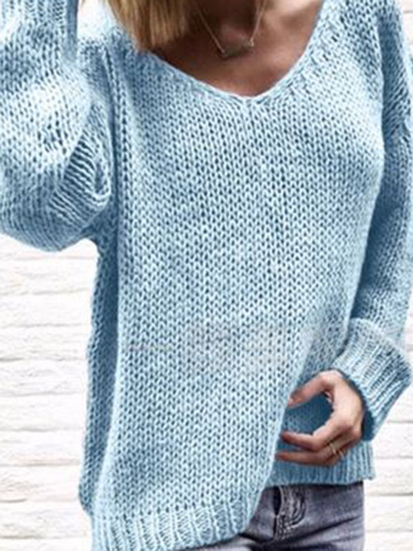Plain Casual V Neck KnitWear Women's Winter Soft Sweaters