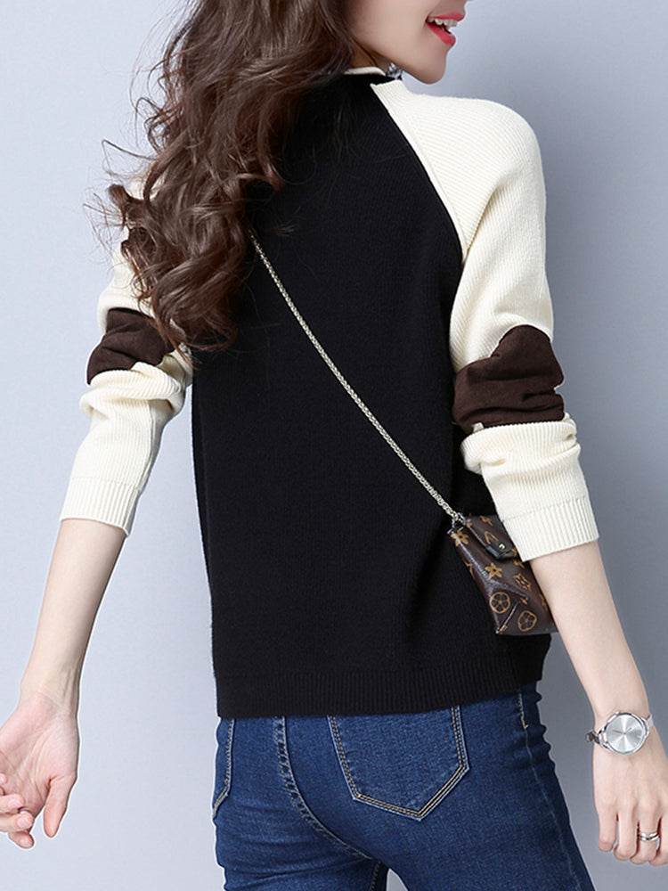 Black Crew Neck Patch Long Sleeve Sweater