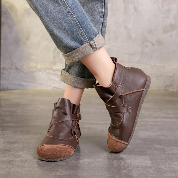 Cowhide Soft Bottom Belt Buckle Shoes