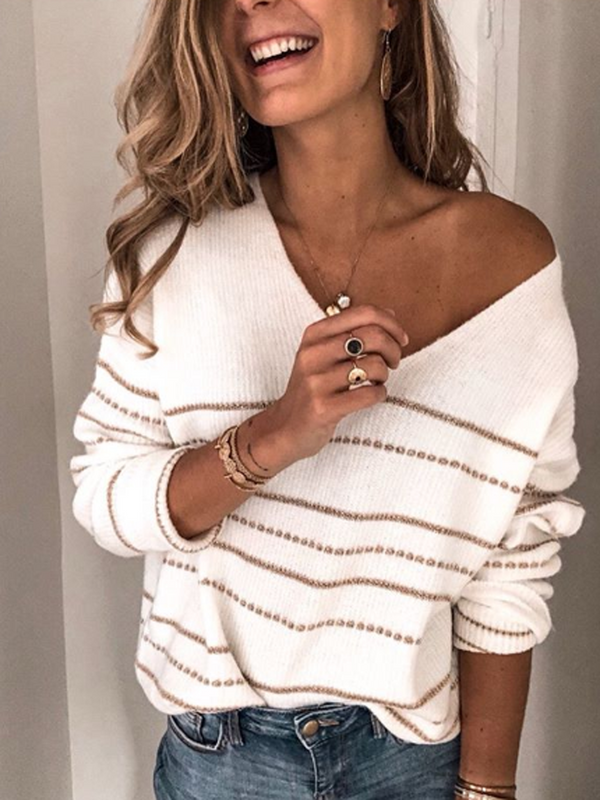 White Casual V Neck Stripes Knitted Shirts & Tops