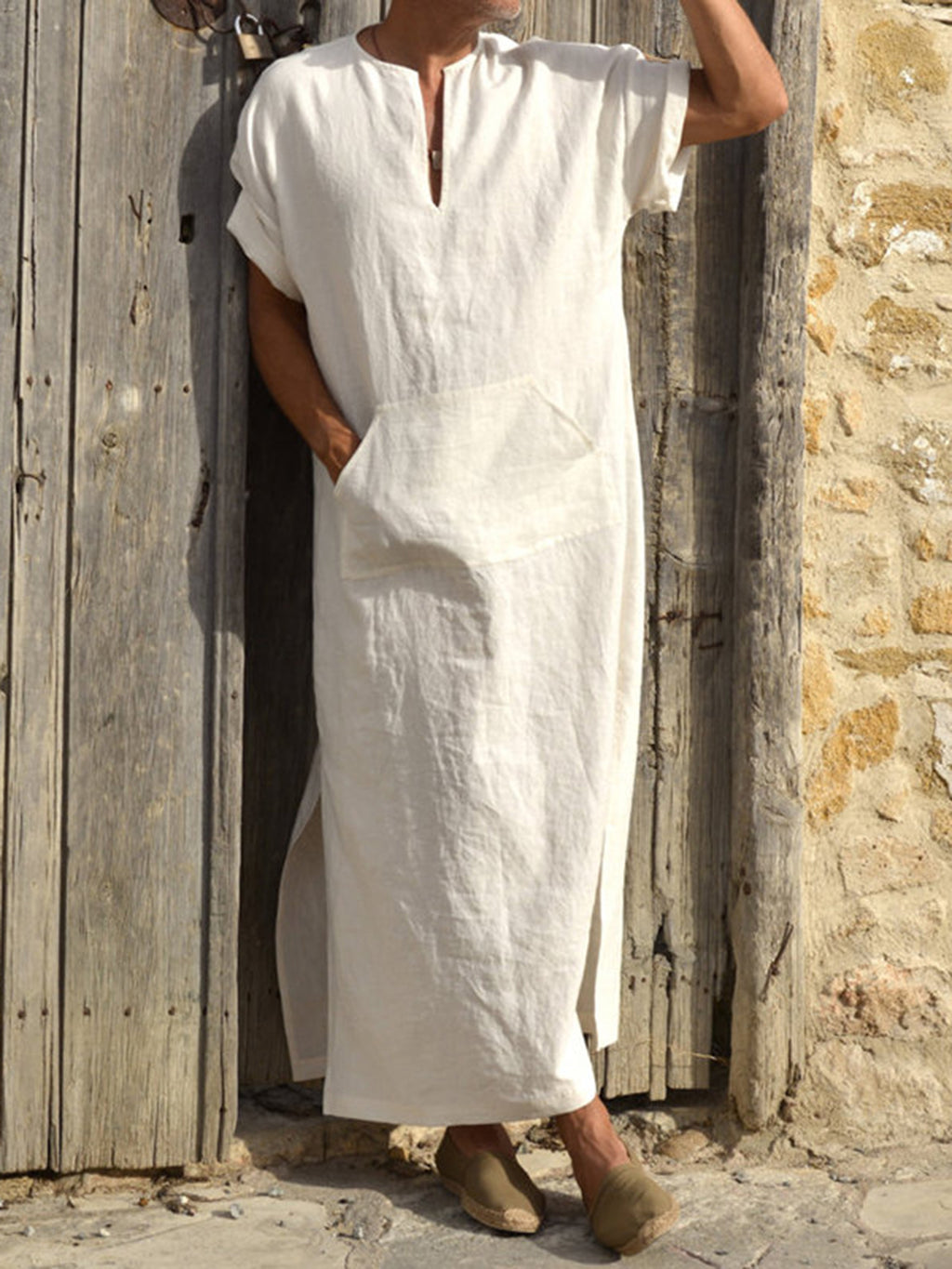 Casual Cotton Men Solid Long Gown
