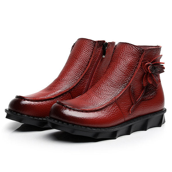 Flower Genuine Leather Zipper Retro Soft Flat Boots