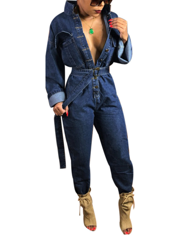 2 Colors Denim Washed Buttoned Pockets Stand Collar Lady's Boyfriend Jumpsuits