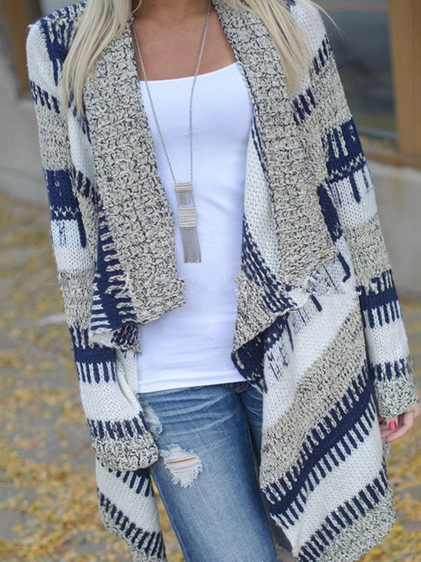 blue Stripes Long Sleeve Asymmetric Kimono