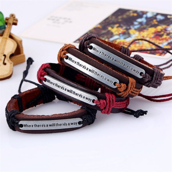 Unisex Fashion Genuine Leather Punk Bangle Wristband Bracelet