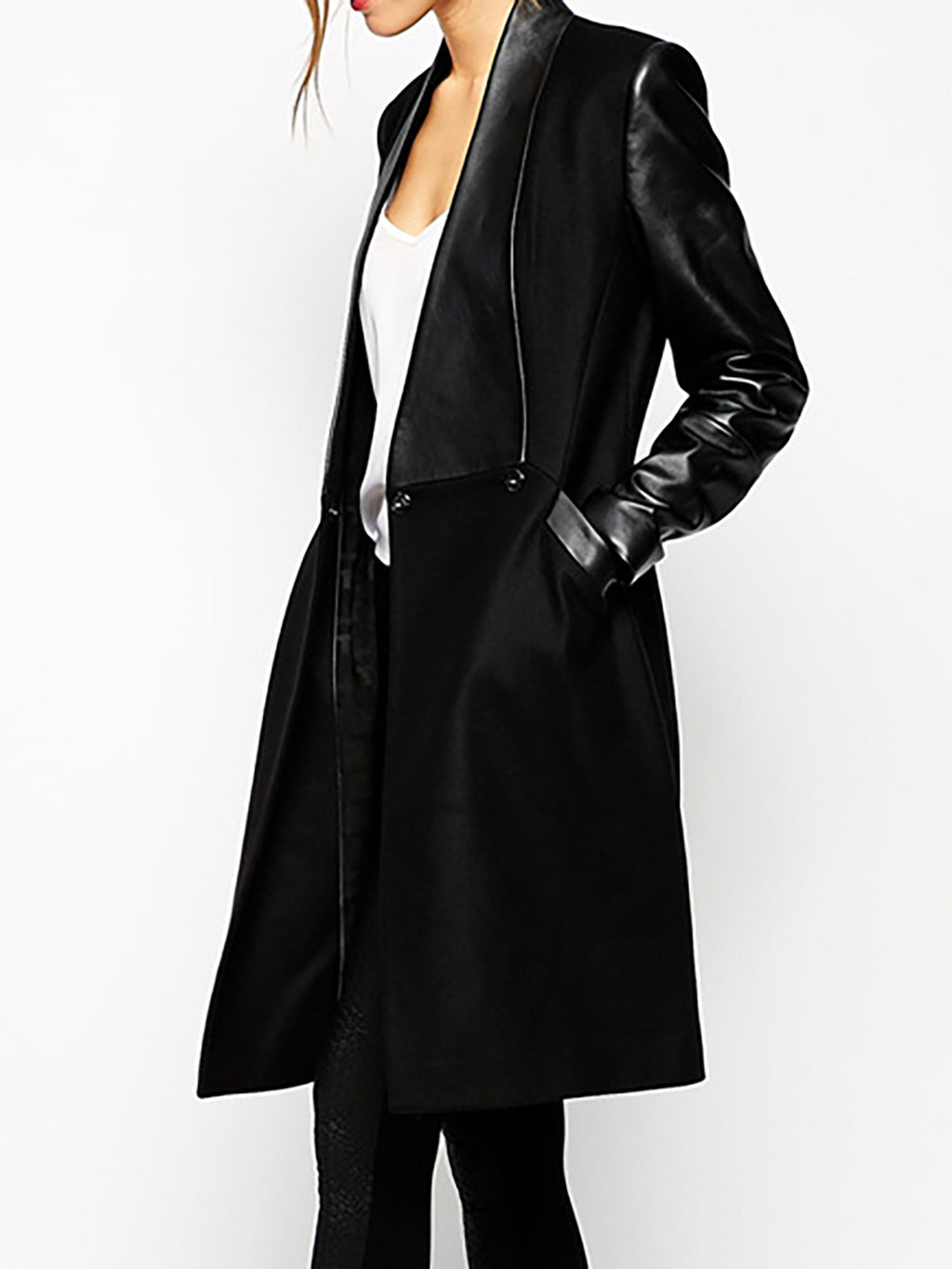Black Elegant Paneled Quilted Coat