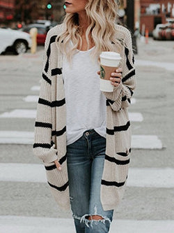 Apricot Knitted Cotton Striped Casual Sweater