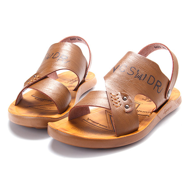 Deep Brown Beach Pu Letter Summer Sandals