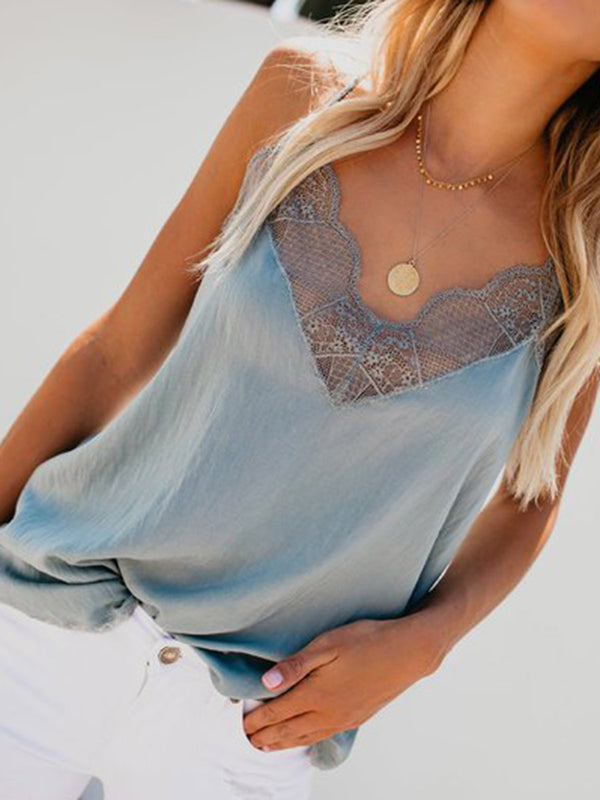 V Neck Spaghetti Lace Paneled Summer Tops