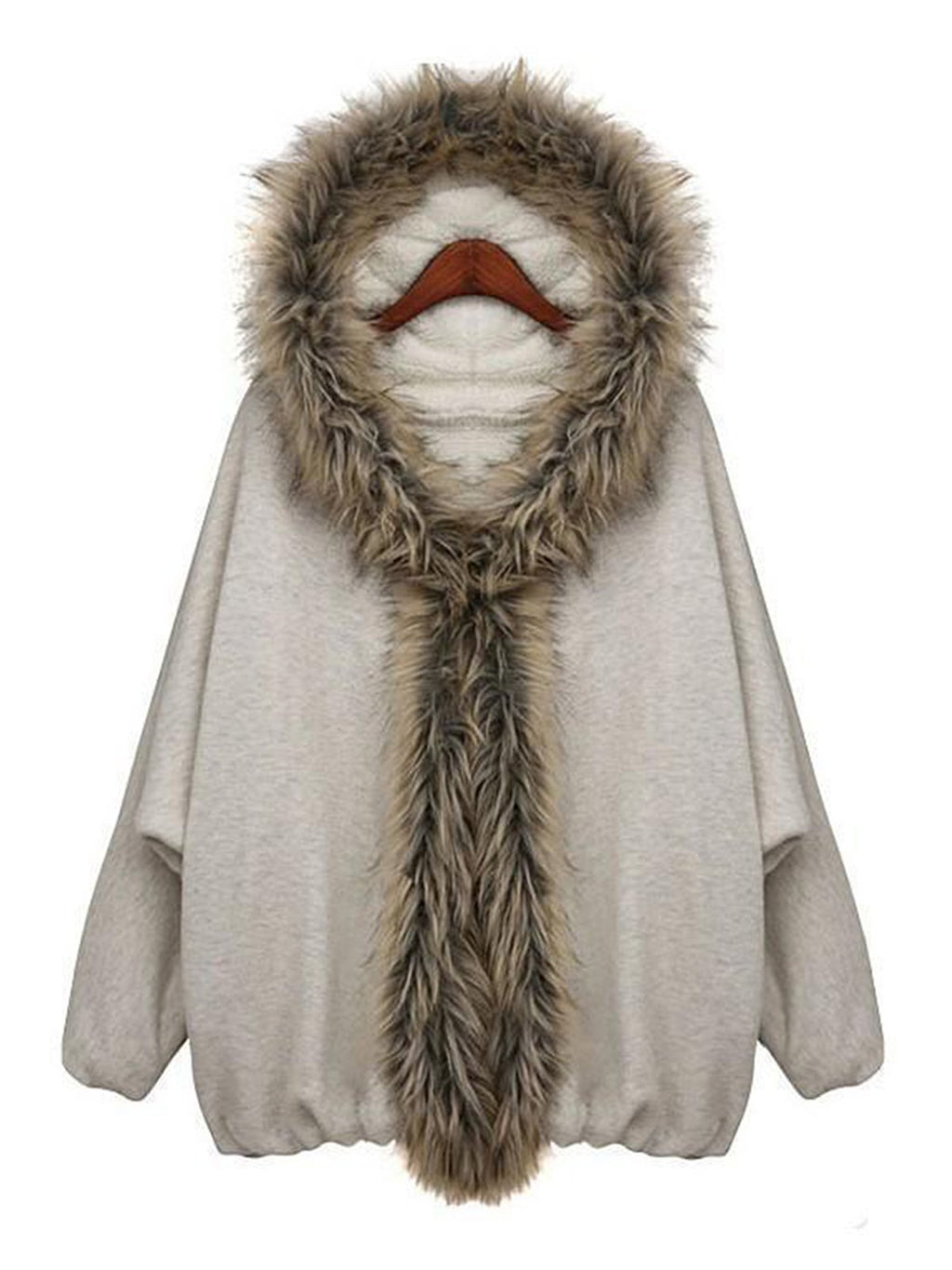 White Plain Artificial Fur Casual Coat