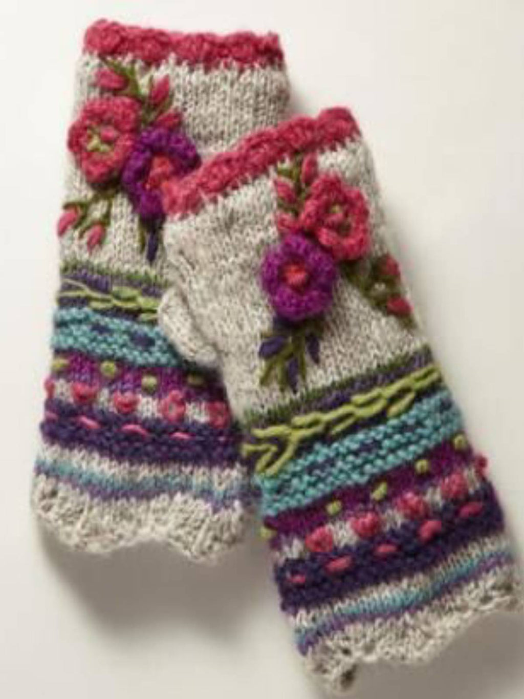 Light Gray Casual Tribal Women Knitted Gloves & Mittens