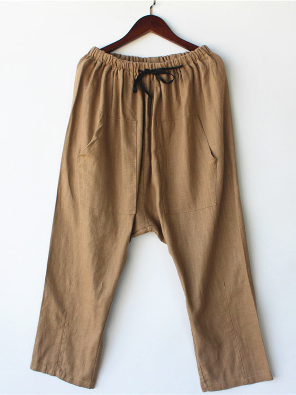 Womens Clothing Khaki Paneled Cotton Solid Casual Pants