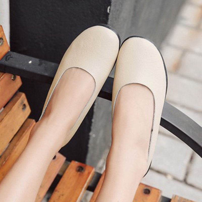Casual Leather Slip On Flats