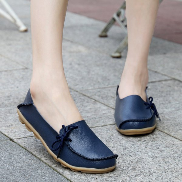 Round Toe Slip-On Bowknot Women's Loafers