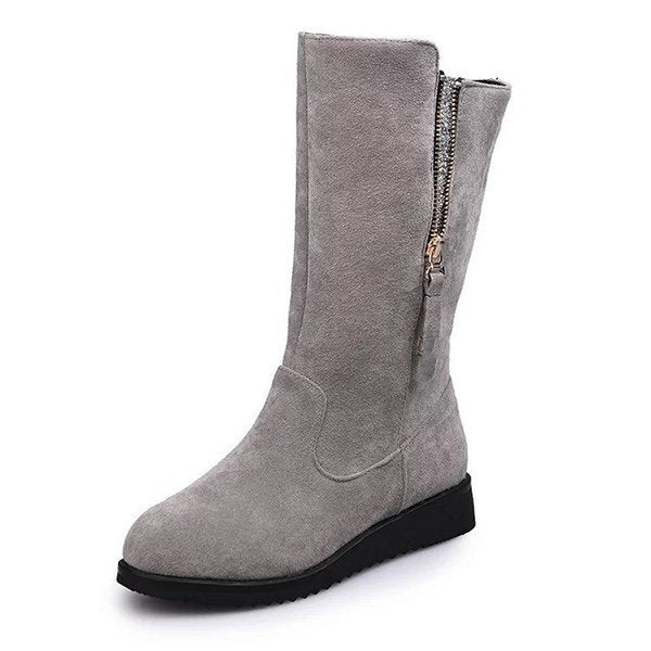 Large Size Zipper Knight Mid Calf Boots
