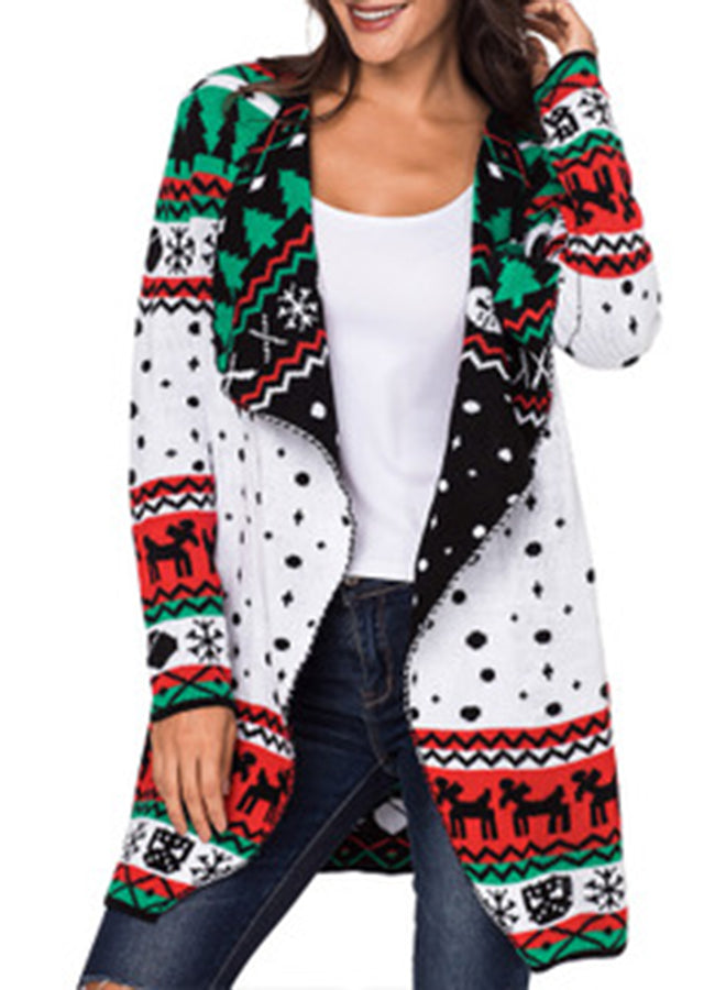 Annychloe Christmas Long Sleeve Sweater Cardigan